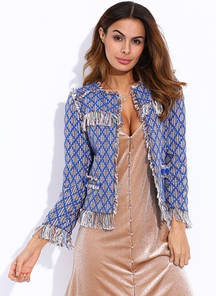 Polyester Long Sleeve Other Tassel Trench Coats Coats