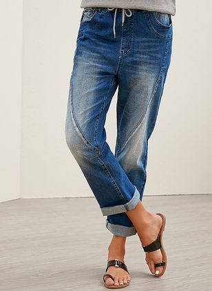 Casual Straight High Waist Denim Jeans (4458025)