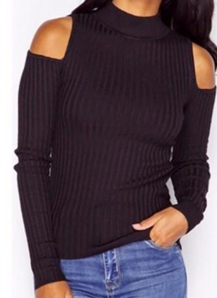 Cotton High Neckline Solid Tight None Sweaters