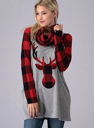 Animal Christmas High Neckline Long Sleeve Blouses