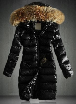 Long Sleeve Hooded Zipper Unremovable Fur Collar Coats (1360976)