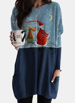 Christmas Animal Tunic Round Neckline A-line Dress (146740087)