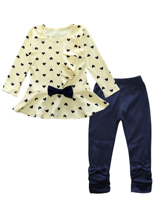 Girls' Color Block Daily Long Sleeve Clothing Sets