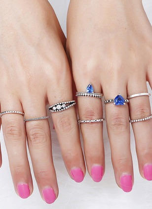 Water Drop Heart Round Crystal Rings 8pcs
