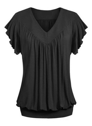 Solid Cotton V-Neckline Short Sleeve Blouses