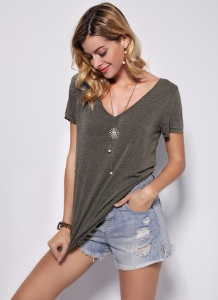 Cotton Solid V-Neckline Short Sleeve Casual T-shirts