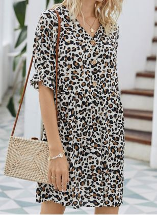 Chic Leopard Tunic V-Neckline Shift Dress (4219600)