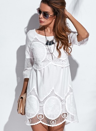 Solid Hollow Out 3/4 Sleeves Knee-Length Shift Dress