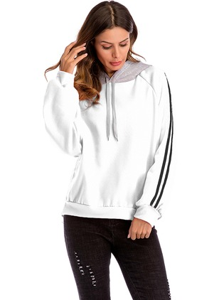Color Block Sporty Cotton Hooded Sweatshirts