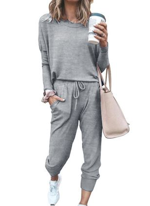 Round Neckline Plain Pockets Sashes Pajamas (4046799)