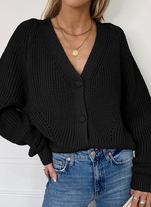 V-Neckline Solid Casual Loose Regular Buttons Sweaters (100668541)