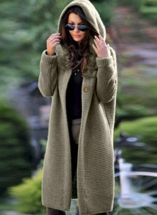 Long Sleeve Hooded Buttons Sweaters Coats