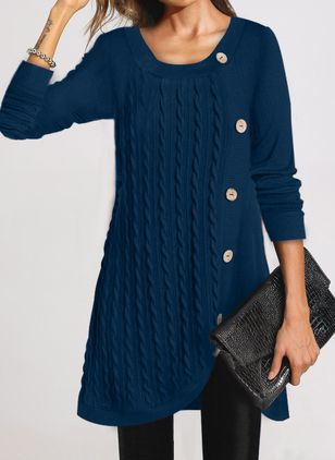 Casual Solid Tunic Round Neckline A-line Dress (107805433)