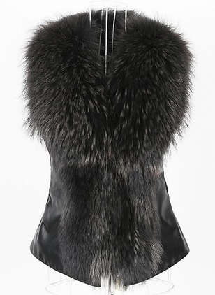 Faux Fur Sleeveless Collarless Unremovable Fur Collar Gilet