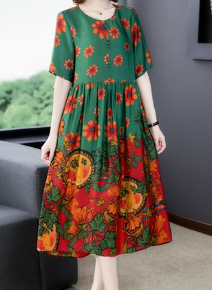 Casual Floral Tunic Round Neckline Shift Dress (100546594)