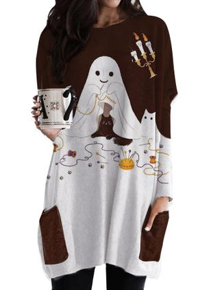 Halloween Alphabet Tunic Round Neckline Shift Dress (108089384)