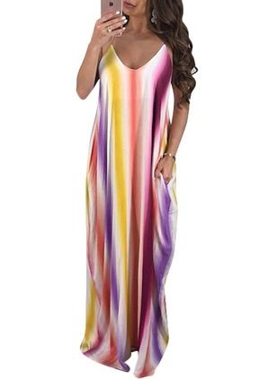 Color Block Slip Camisole Neckline Maxi Shift Dress