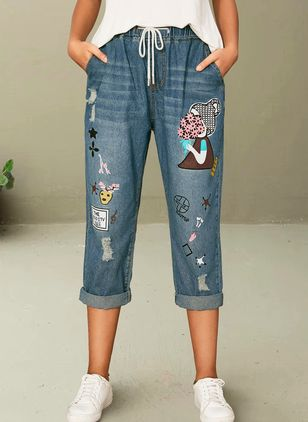 Casual Loose High Waist Denim Jeans Pants (1516447)