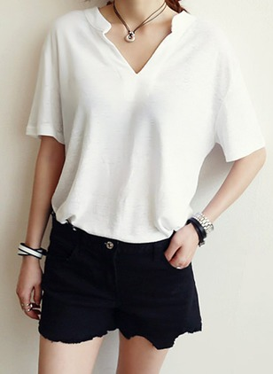 Solid V-Neckline Short Sleeve T-shirts