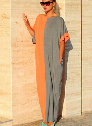 Color Block Short Sleeve Maxi Dress