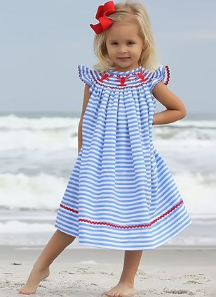 Girls' Basic Stripe Daily Sleeveless Dresses