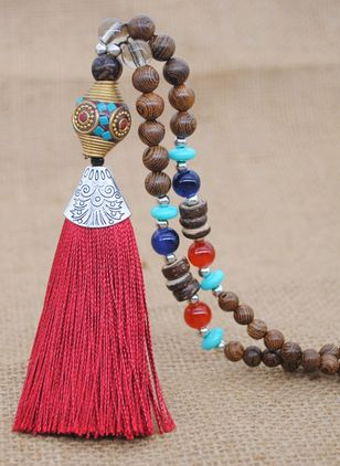 Casual Tassel Gemstone Pendant Necklaces (4039620)