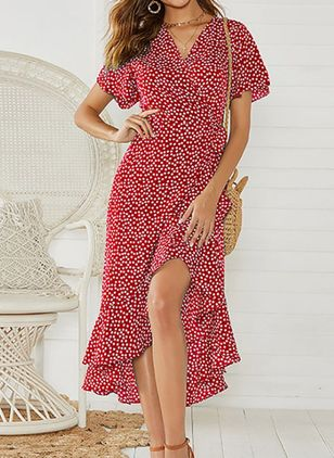 Casual Polka Dot Tunic V-Neckline X-line Dress (146992853)