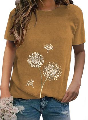 Floral Round Neck Short Sleeve Casual T-shirts (146988075)