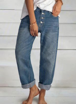 Casual Loose Buttons Pockets Mid Waist Polyester Jeans Pants (147928567)