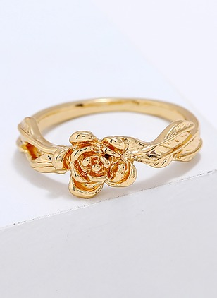 Floral Round No Stone Rings Single