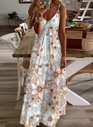 Robes Casual Florale Sans manches Maxi (147104649)