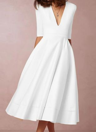 Elegant Solid V-Neckline Midi X-line Dress (146981480)