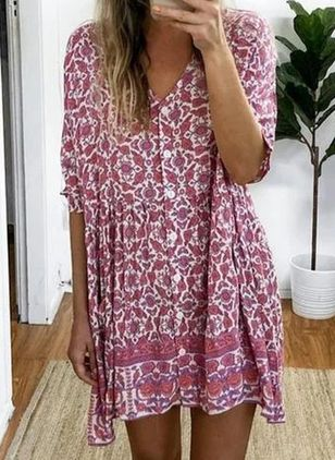 Casual Floral Tunic V-Neckline Shift Dress (4265455)