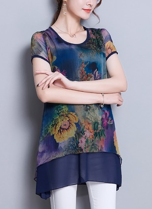 Floral Casual Cotton Round Neckline Short Sleeve Blouses