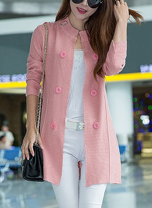 Long Sleeve Round Neck Buttons Coats