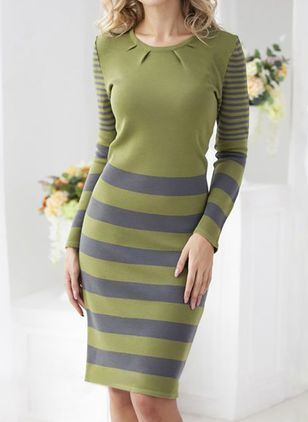 Elegant Stripe Pencil Round Neckline Bodycon Dress (107805487)