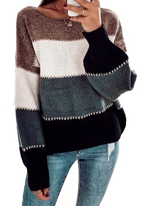 Round Neckline Color Block Casual Loose Regular Shift Sweaters (101399076)