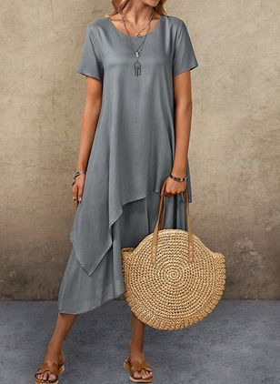 Casual Solid Tunic Round Neckline Shift Dress (1514505)