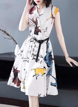 Animal Zipper Wrap Midi A-line Dress
