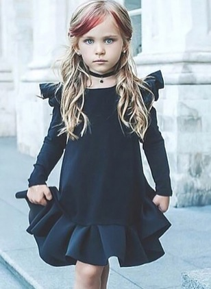 Girls' Solid Party Long Sleeve Dresses