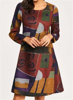 Casual Color Block Round Neckline Long Sleeve Knee-Length Dress (107251441)