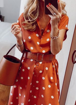 Casual Polka Dot Shirt Collar X-line Dress (100547113)