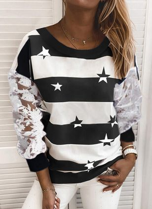 Stripe Round Neck Long Sleeve Casual T-shirts (107251409)