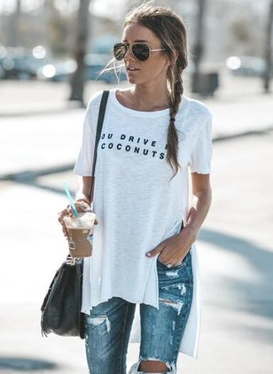 Cotton Alphabet Round Neck Sleeveless T-shirts