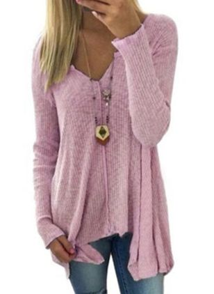 V-Neckline Solid Casual Loose Long Shift Sweaters (1523476)