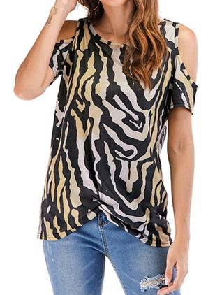 Leopard Round Neck Short Sleeve Casual T-shirts (4229027)