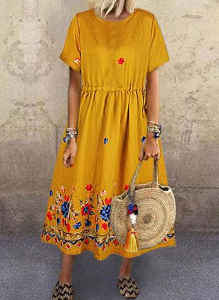 Casual Floral Tunic Round Neckline Shift Dress (4355623)