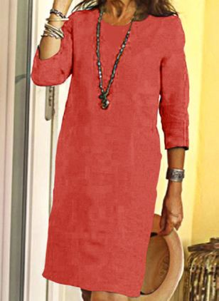 Casual Solid Tunic Round Neckline Shift Dress (100001810)