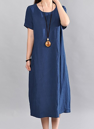 Cotton Solid Short Sleeve Midi Shift Dress