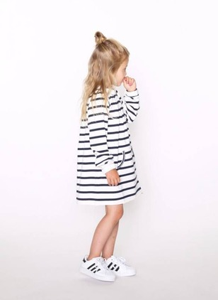 Girls' Stripe Daily Long Sleeve Dresses